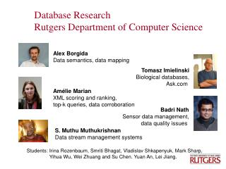 Database Research  Rutgers Department of Computer Science