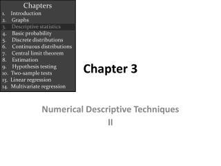 Numerical Descriptive Techniques II