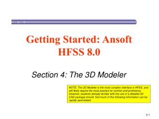 Section 4: The 3D Modeler