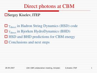 Direct photons at CBM