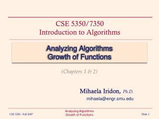 Analyzing Algorithms Growth of Functions