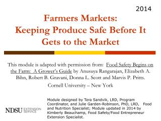 Farmers Markets:             Keeping Produce Safe Before It Gets to the Market