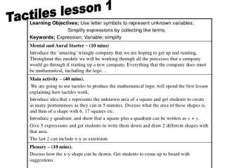 Tactiles lesson 1