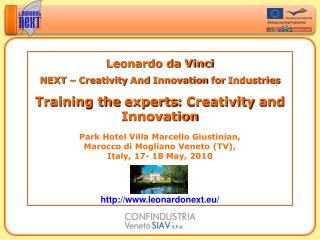 Leonardo da Vinci NEXT –  Creativity  And  Innovation for Industries