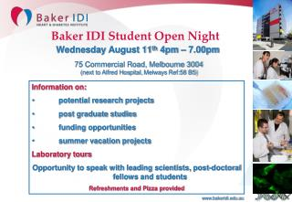 Baker IDI Student Open Night