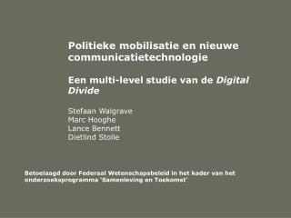 Politieke mobilisatie en nieuwe communicatietechnologie