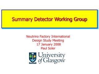 Summary Detector Working Group