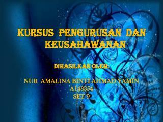 KURSUS  PENGURUSAN  DAN               KEUSAHAWANAN  Dihasilkan oleh :