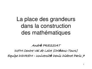 La place des grandeurs  dans la construction  des math matiques