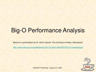 Big-O Performance Analysis