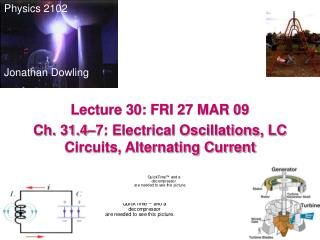 Lecture 30: FRI 27 MAR 09 Ch. 31.4–7: Electrical Oscillations, LC Circuits, Alternating Current