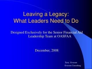 Leaving a Legacy: What Leaders Need to Do