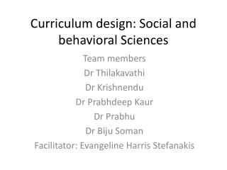Curriculum design: Social and behavioral Sciences