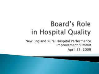 Board's Role in Hospital Quality