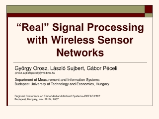 Distributed Signal Processing
