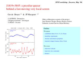Outline  The quasar:   scintillation data (3.6, 6, 13, 21, 92cm)    timedelay experiments