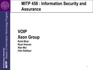MITP 458 : Information Security and Assurance