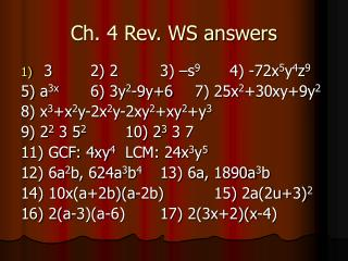 Ch. 4 Rev. WS answers