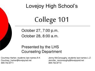 Lovejoy High School s  College 101