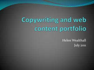 Copywriting and web content portfolio