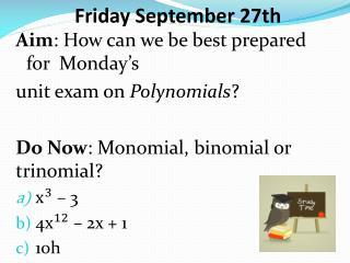 Friday September 27th