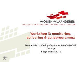 Workshop 3: monitoring, activering & actieprogramma
