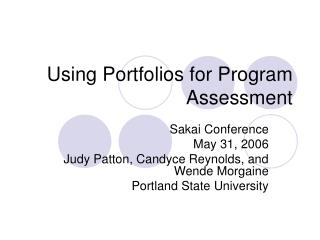 Using Portfolios for Program Assessment
