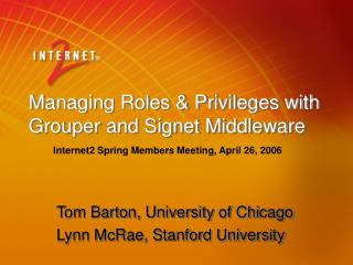 Managing Roles & Privileges with Grouper and Signet Middleware