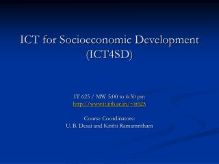 ICT for Socioeconomic Development  (ICT4SD)
