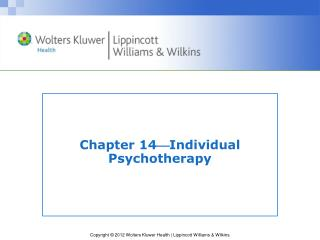 Chapter 14  Individual Psychotherapy
