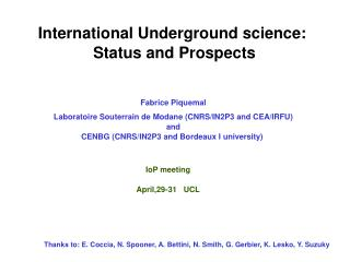 International Underground science:  Status and Prospects