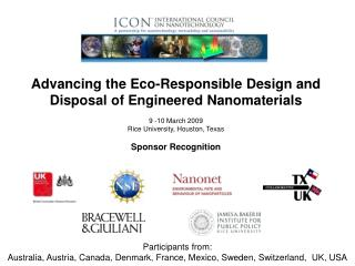 Advancing the Eco-Responsible Design and Disposal of Engineered Nanomaterials 9 -10 March 2009