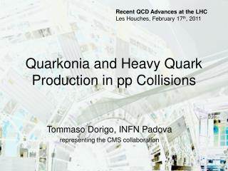 Quarkonia and Heavy Quark Production in pp Collisions