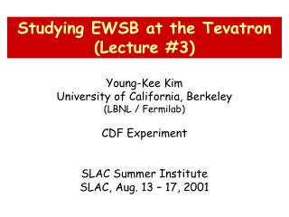 Young-Kee Kim University of California, Berkeley (LBNL / Fermilab) CDF Experiment