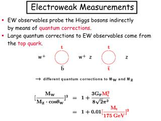 EW observables probe the Higgs bosons indirectly 	by means of  quantum corrections .