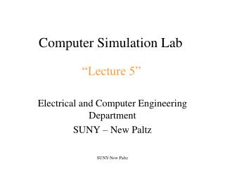 Computer Simulation Lab