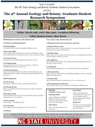 The 9 th  Annual Zoology and Botany  Graduate Student Research Symposium