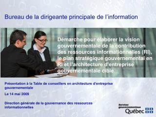 Bureau de la dirigeante principale de l'information