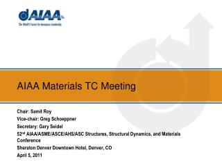 AIAA Materials TC Meeting