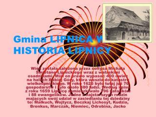 Gmina LIPNICA WIELKA HISTORIA LIPNICY