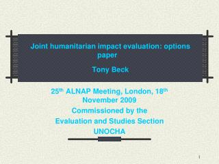 Joint humanitarian impact evaluation: options paper    Tony Beck