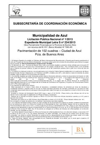 Licitación Pública Nacional nº 1/2013 Expediente Municipal Letra S nº 234/2013