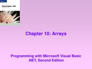 Chapter 10: Arrays