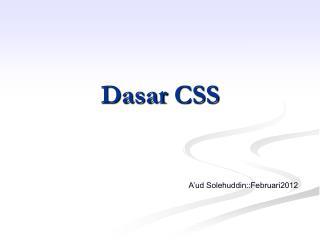Dasar  CSS