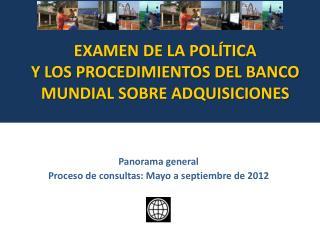 Panorama general Proceso de consultas:  Ma yo a septiembre  de 2012