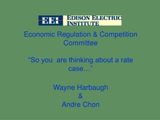 "Economic Regulation & Competition Committee ""So you  are thinking about a rate case…"""