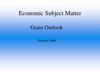 Economic Subject Matter