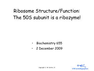 Ribosome Structure/Function: The 50S subunit is a ribozyme!