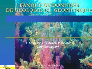 BANQUE DE DONNEES DE GEOLOGIE ET  GEOPHYSIQUE