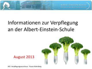 Informationen zur Verpflegung  an der Albert-Einstein-Schule